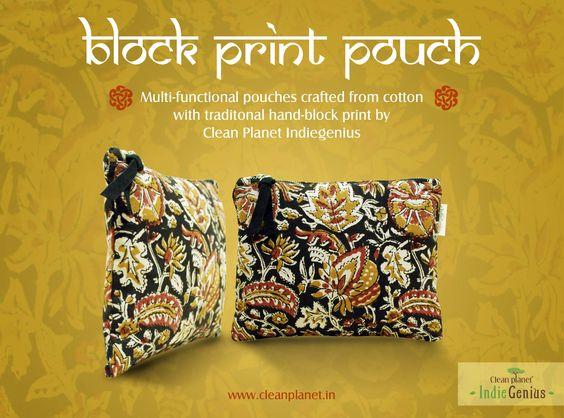 block print pouch